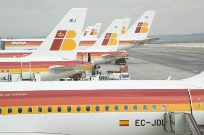 Iberia aviones en Barajas