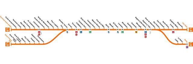 Plano de la línea de metro L9 de Barcelona, que conectará con el aeropuerto