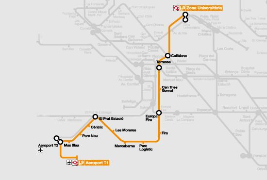mapa metro barcelona airport