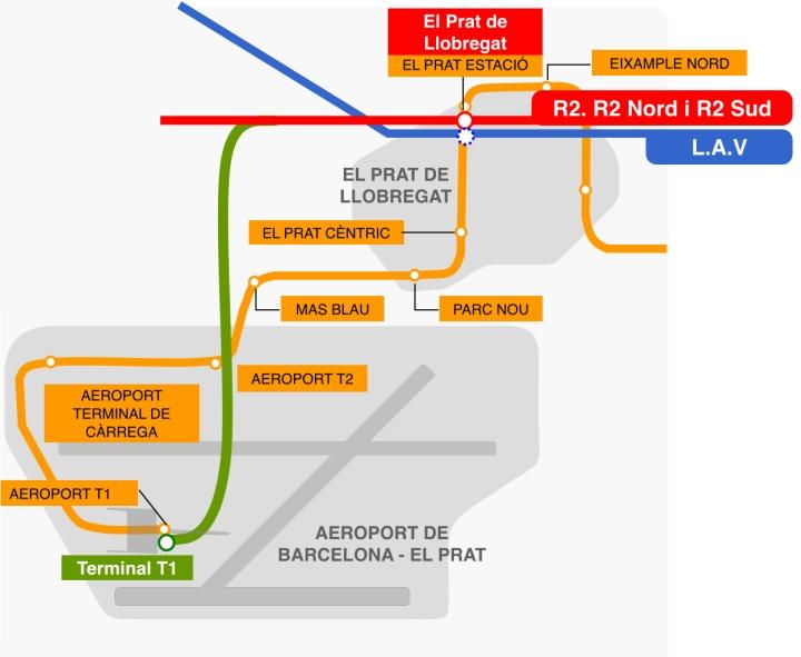 Nuevo tren lanzadera a la T1 del Aeropuerto de Barcelona
