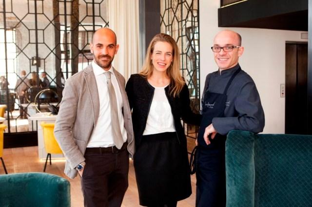 Antonio Bignone y Ona Matas, directores del Hotel The Serras, y Marc Gascons, chef del restaurante Informal