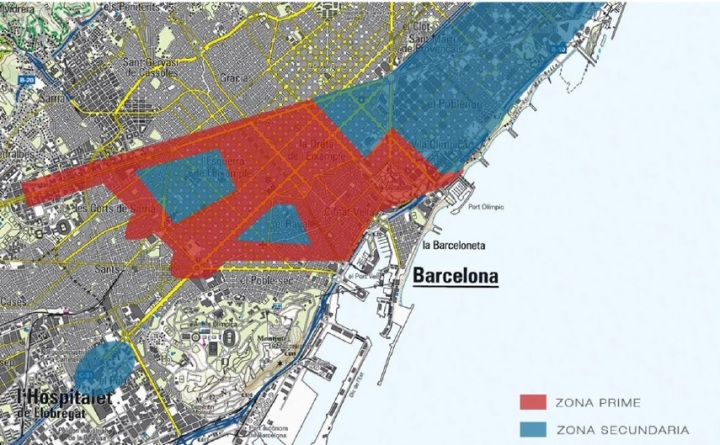 Zonas hoteleras de Barcelona. Fuente: BRIC Consulting.