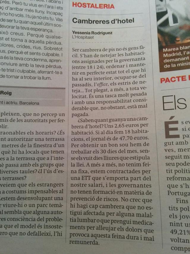 sueldo camareras de hotel en Barcelona 2015