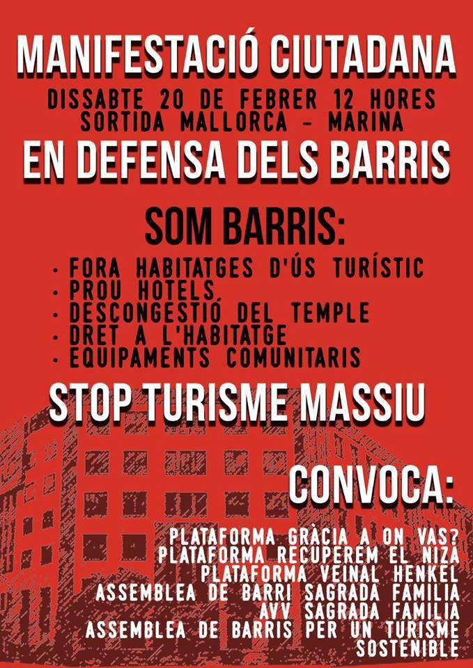 manifestación contra turismo masivo barcelona
